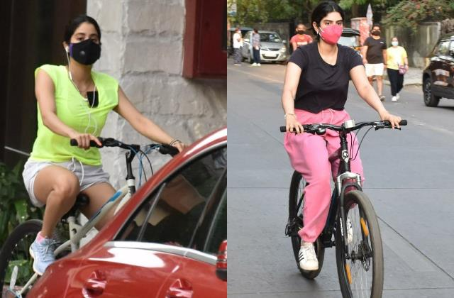 janhvi kapoor head out for cycling with sister khushi kapoor