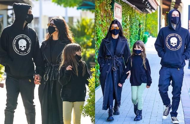 kourtney kardashian spotted with boyfriend travis barker and daughter penelope