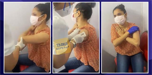 ankita lokhande starts praying before getting covid 19 vaccine