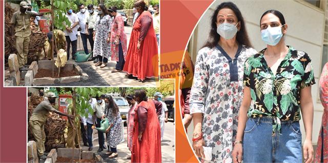 hema malini and esha deol planting trees in the city