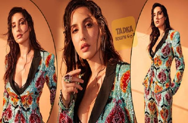 nora fatehi shares her hot photos in pantsuit