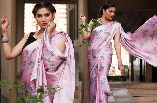 sapna chaudhary shares her photos in pink saree