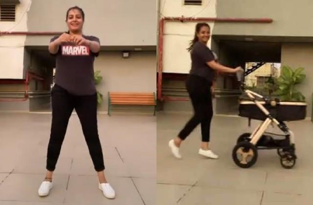 anita hassanandani doing workout with son aarav