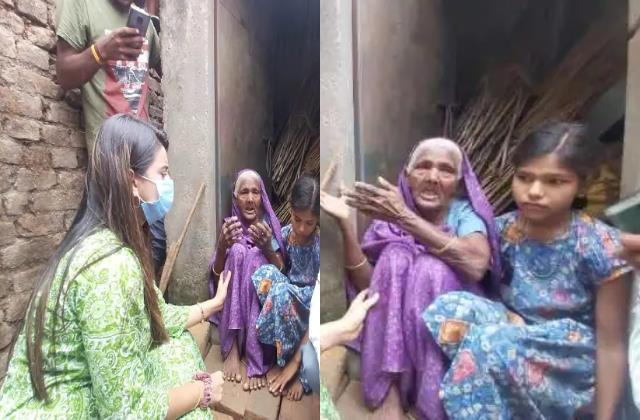 akshara singh helped nalanda old woman who lived in toilet with granddaughter