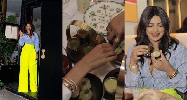priyanka enjoy golgappas with friends during her first visit restaurant sona