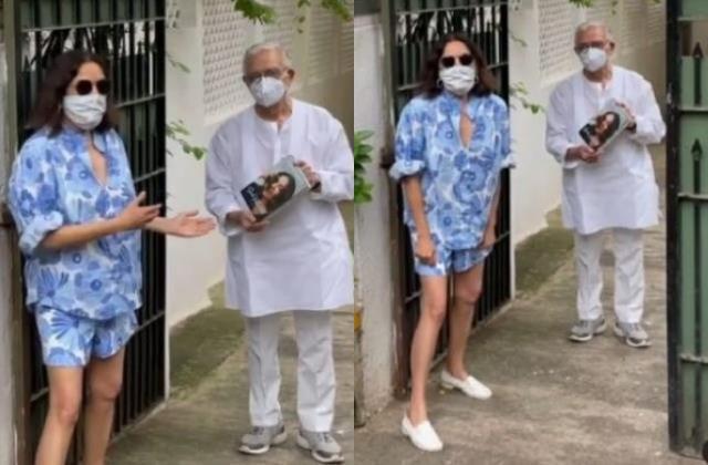 neena gupta trolled for meeting lyricist gulzar in shorts