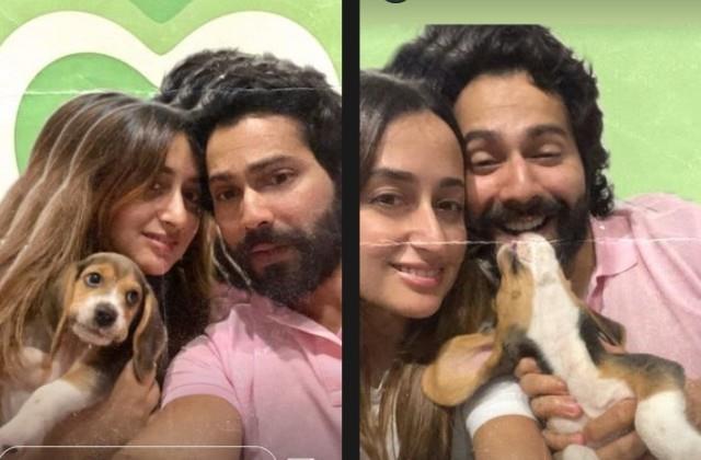 varun dhawan shares selfie with wife natasha dalal and pet dog