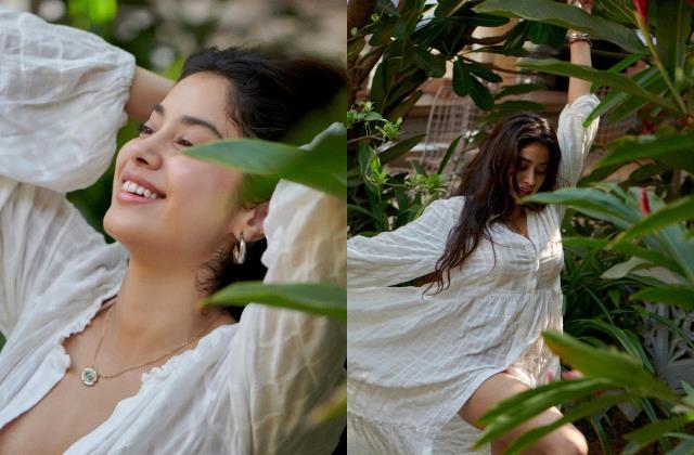 janhvi kapoor looks gorgeous as she enjoy mumbai weather