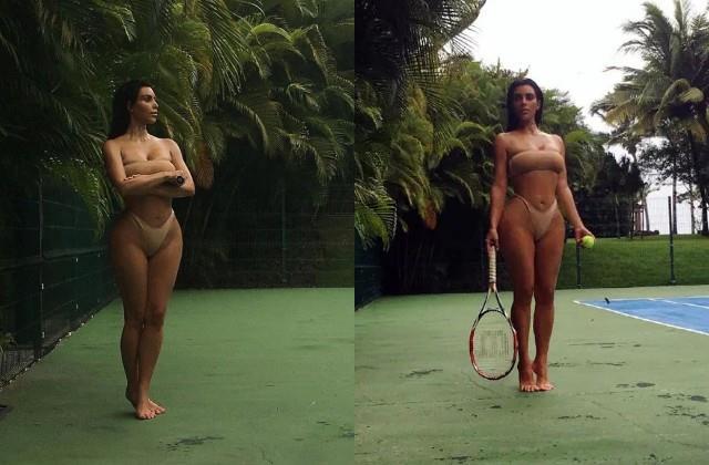 kim kardashian played tennis in bikini