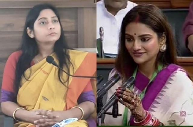 bjp mp sanghmitra maurya appealed to take action against nusrat jahan