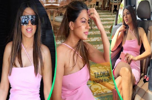 nia sharma shares her hot photos in pink short dress