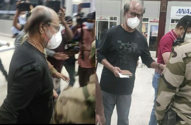 rajinikanth left for america for medical checkup