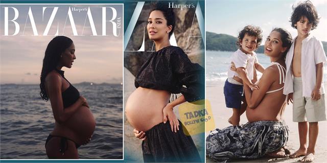 actress lisa haydon maternity photoshoot with sons