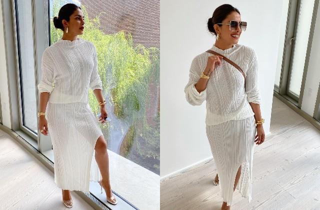 priyanka chopra look cool in all white attire