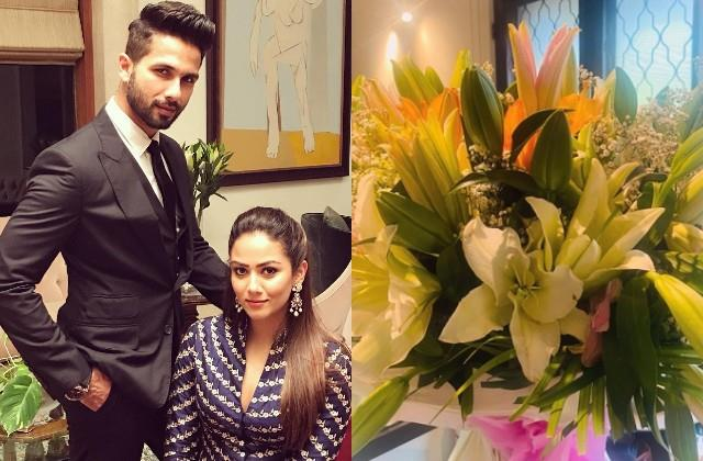 shahid kapoor surprise wife mira rajput with beautiful bouquet of flowers