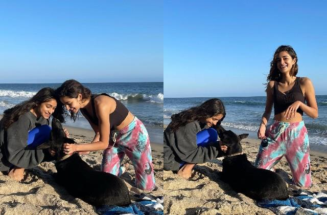 ananya pandey having fun on the beach with sister and dog