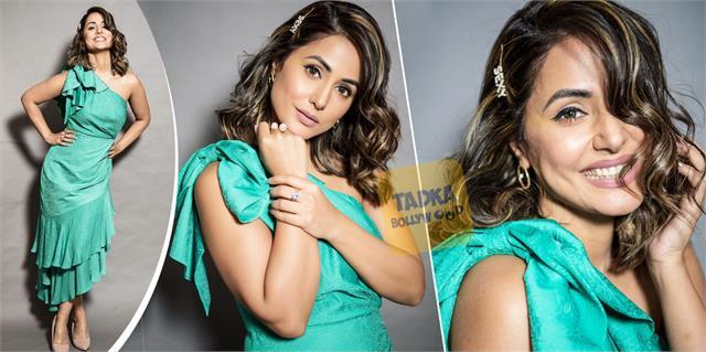 hina khan swag look in 2 lakh one shoulder dress