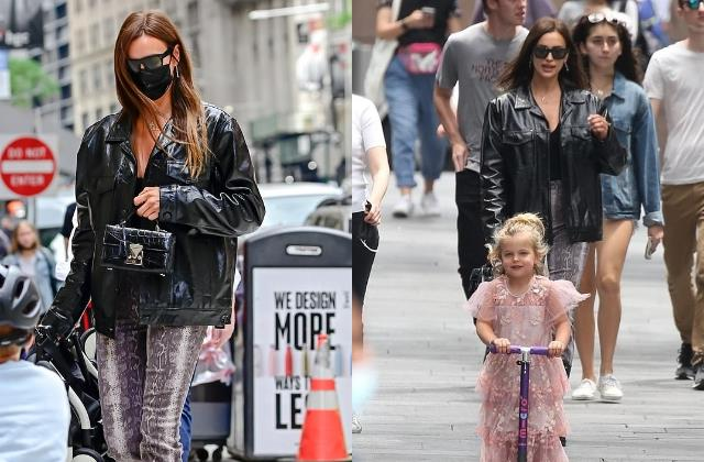 irina shayk running errands with her daughter lea in new york
