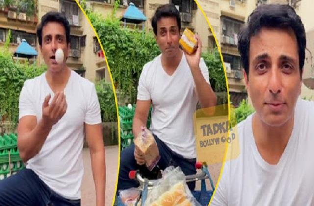 sonu sood shares video of himself selling bread and eggs on bicycle