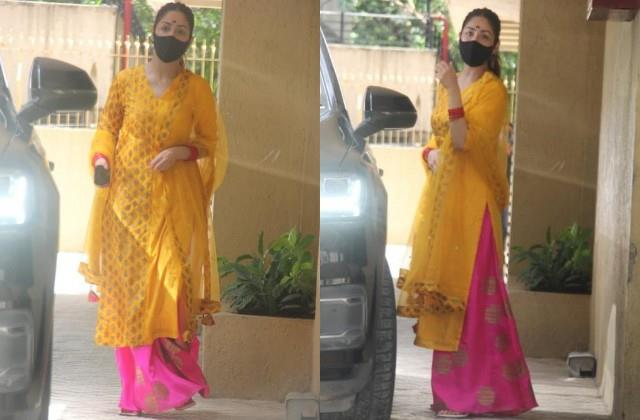 newlywed yami gautam spotted in mumbai in traditional look