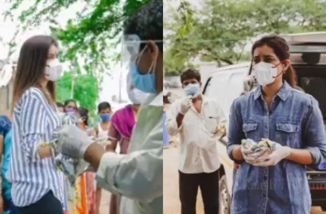 rashi khanna delivering food to the needy in corona crisis