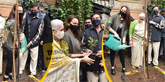 sonakshi sinha planted trees with parents in mumbai