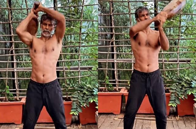 milind soman workout with10 kg mudgar video viral