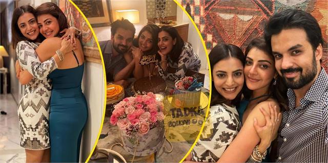 kajal aggarwal birthday celebration with husband gautam kitchlu and sister
