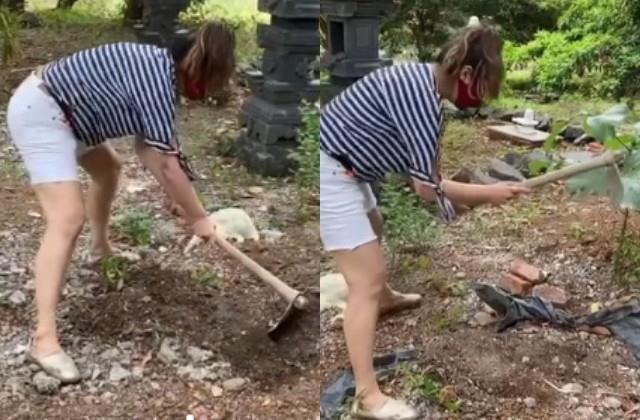 raveena tandon digging mud with a shovel  video viral