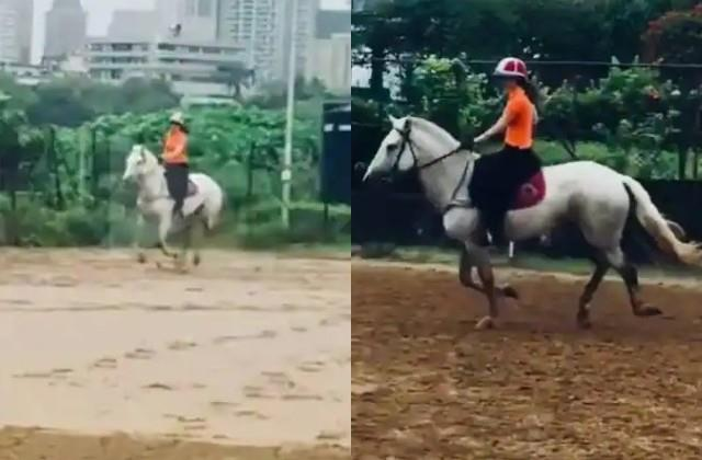 kangana share a video of her horse riding