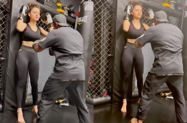 trainer punching urvashi rautela stomach video viral