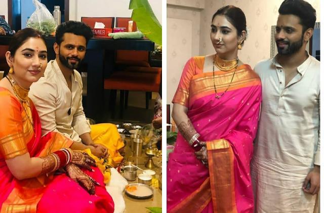 disha parmar do pooja with husband rahul vaidya at her sasural