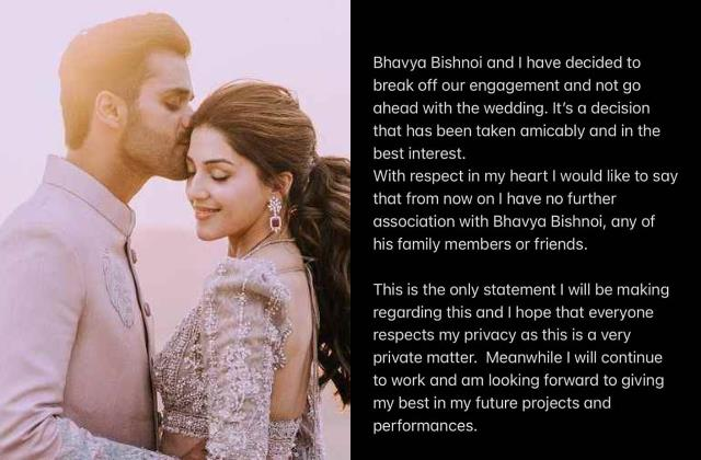 south actress mehreen pirzadaa breaks off engagement with bhavya bishnoi