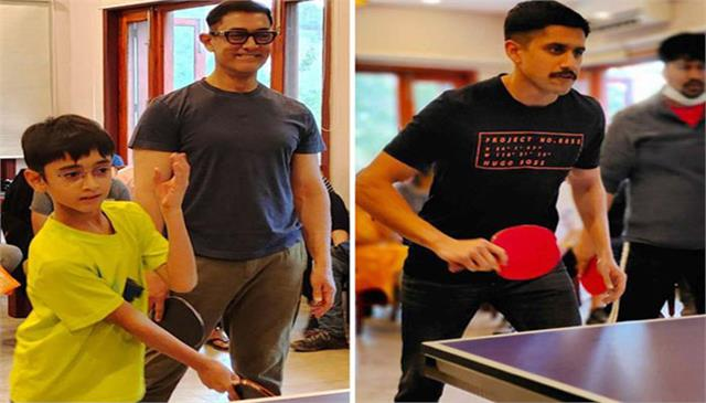 aamir khan playing table tenis with laal singh chaddha team