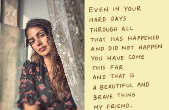 rhea chakraborty shares words of wisdom about getting through hard days