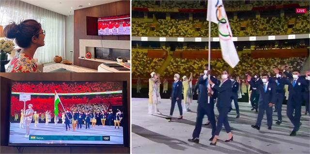 टोक्यो में ओलंपिक 2020 का आगाज: चश्मा पहन ड्रॉइंग रूम में प्रियंका ने उठाया ओपनिंग सेरेमनी मजा, टीम इंडिया को कहा-' गुड लक'