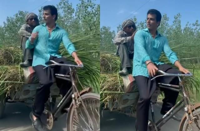 sonu sood bringing grass on bicycle for the milkman s buffalo video viral