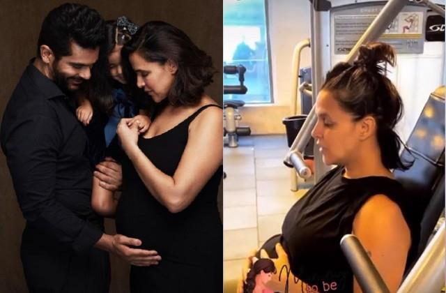 pregnant neha dhupia workout at gym husband angad bedi shares video