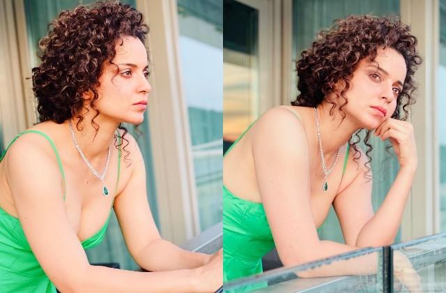 kangana looks stunning in in deep neck green dress and curly hair