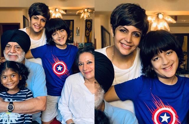 mandira bedi posts pic with her parents daughter tara and son vir