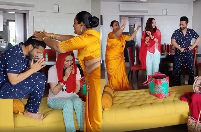 rahul vaidya and disha parmar take special blessings