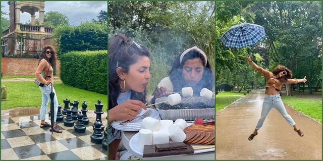 priyanka chopra enjoying the rain with friends in london photos viral