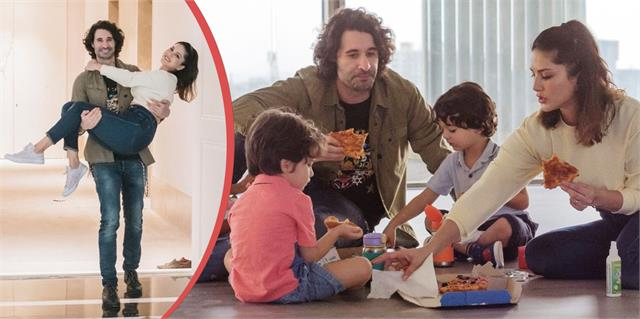 sunny leone daniel weber enjoy pizza party with children in their new house