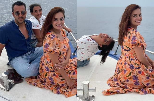 pregnant dia mirza share unseen pics with husband vaibhav and her step daughter