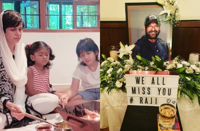 raj kaushal 1 month death anniversary mandira do small puja with children