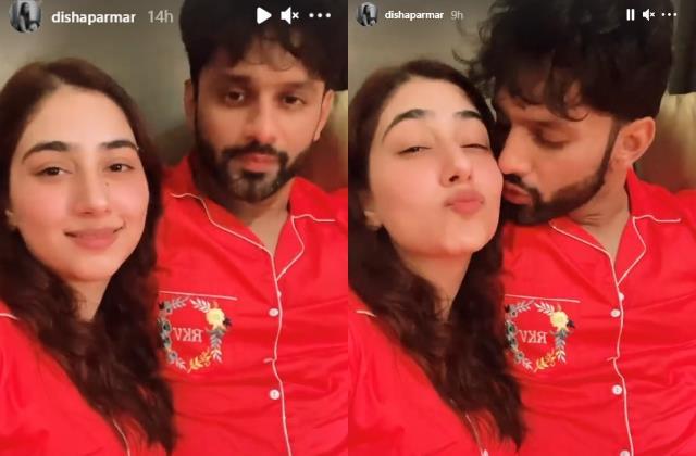 newly weds rahul vaidya and disha parmar lovey dovey moments
