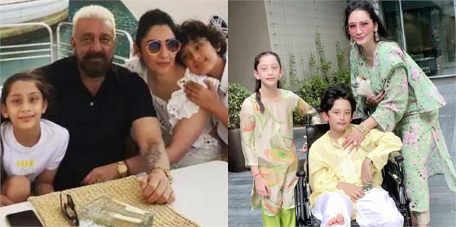 sanjay dutt and manyata dutt son shahraan injured sitting on wheel chair