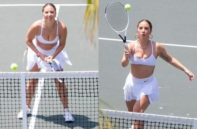 lady gaga playing tennis in bold style