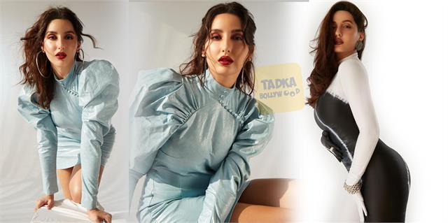 nora fatehi looks gorgeous in leather mini dress
