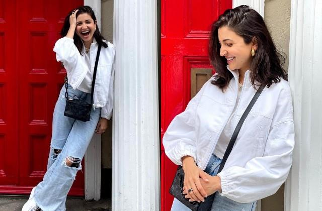 anushka sharma s swag in white top and ripped jeans